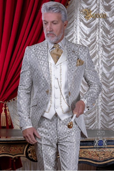 Baroque brocade ivory and gold frock coat with crystal rhinestones lapels
