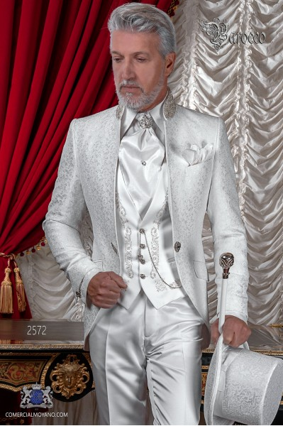 Baroque white brocade coat with crystal rhinestones.
