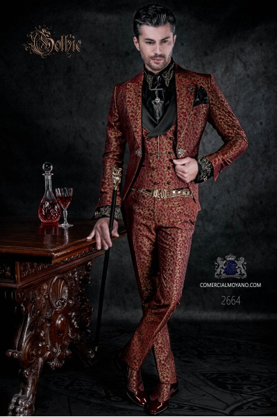 Vintage frock coat red and gold jacquard fabric crystal rhinestones on the lapels.