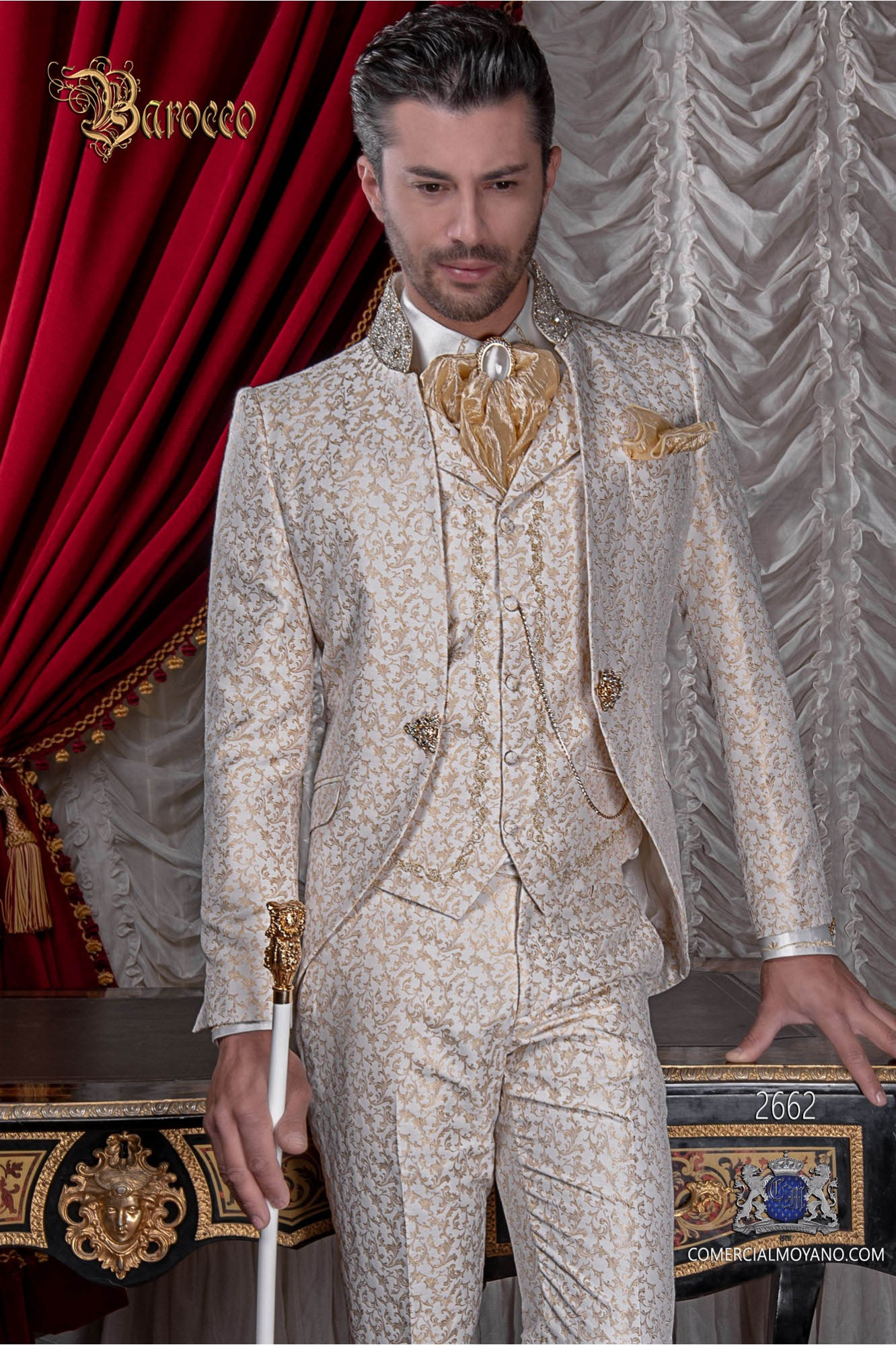 Ivory and gold brocade baroque frock coat with golden crystal rhinestones on Mao collar