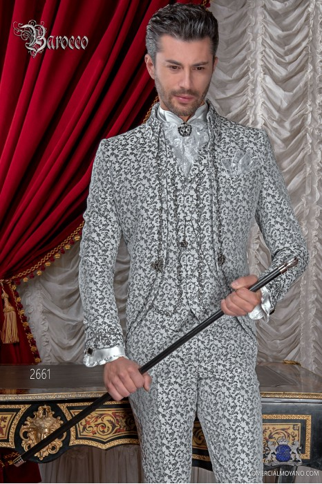 Traje de novio barroco, levita de época cuello Napoleón en tejido jacquard blanco y negro con bordados negro