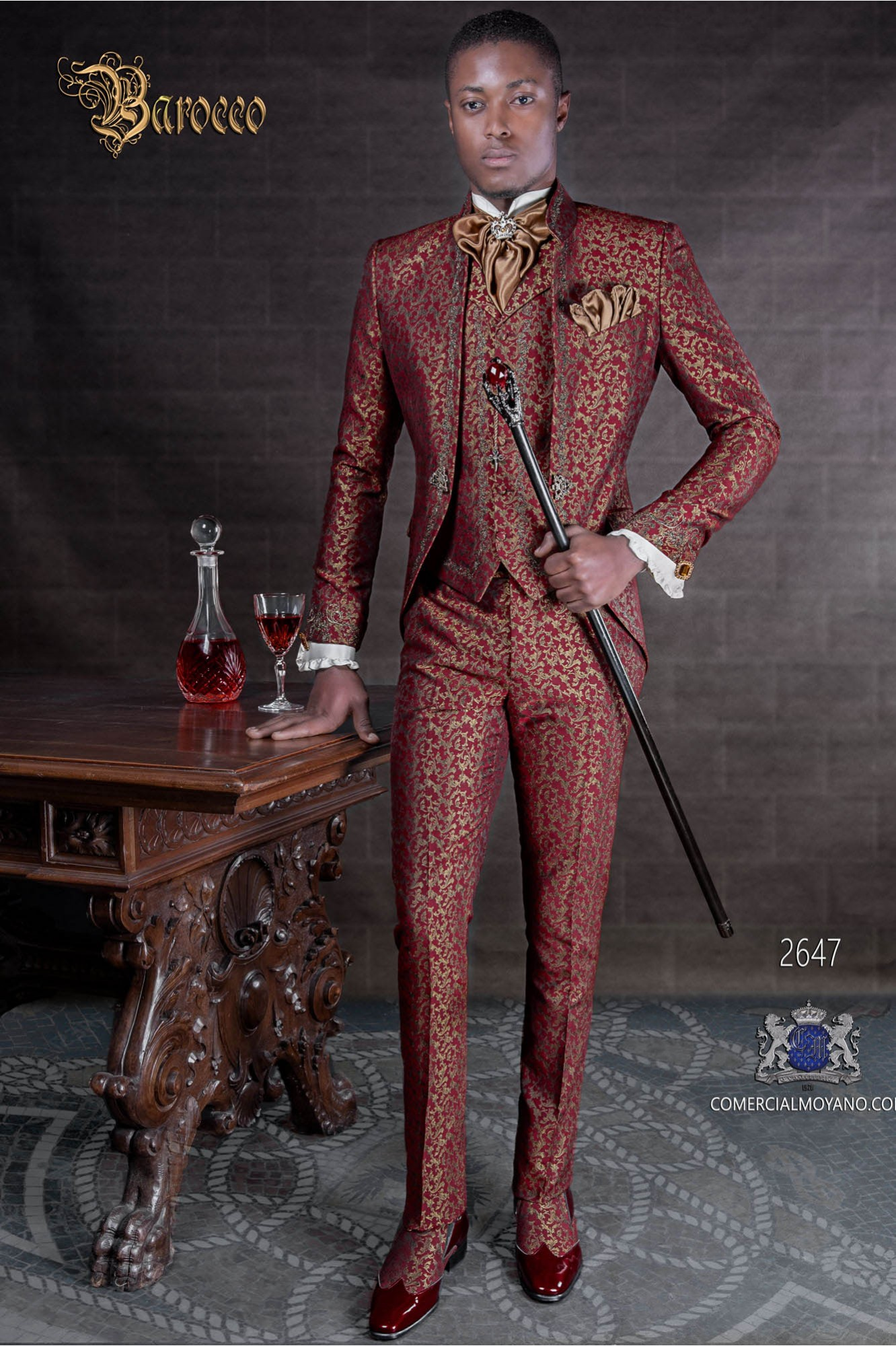 Baroque groom suit, vintage mao collar frock coat in red and gold jacquard fabric with silver embroidery