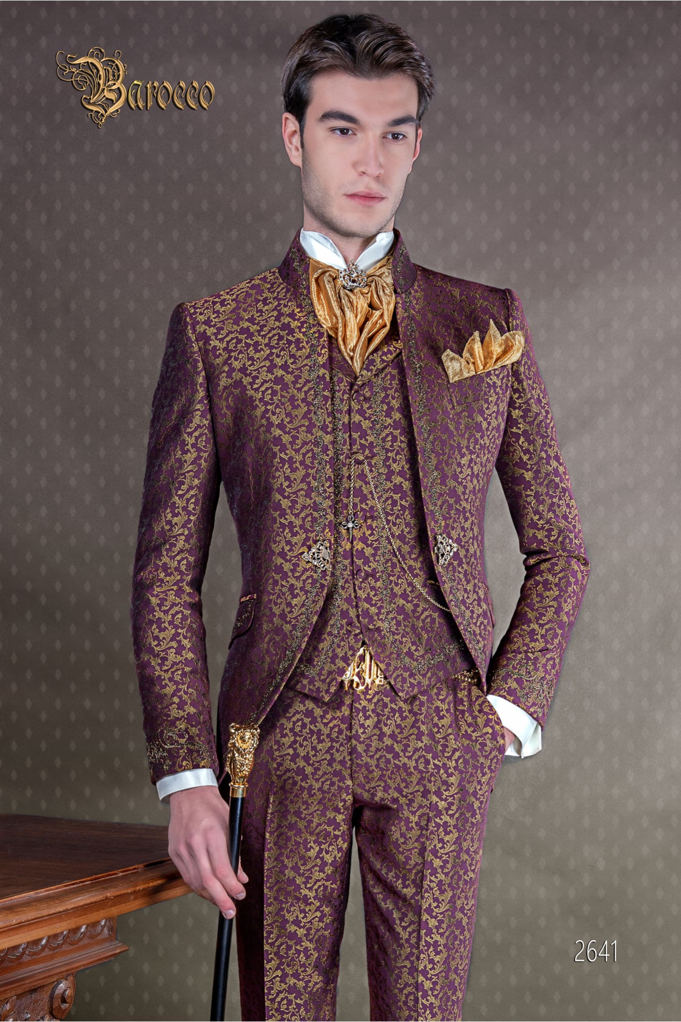 Baroque groom suit, vintage mao collar frock coat in purple and gold jacquard fabric with golden embroidery