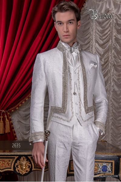 Baroque white brocade tail coat with Mao collar and rhinestones