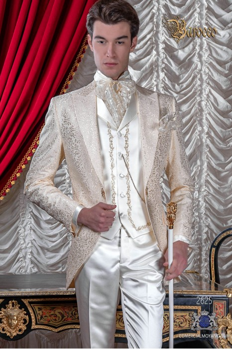 Groomswear Baroque. Vintage ivory frock coat jacquard fabric with brooch fantasy