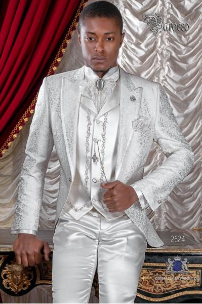 Traje levita de época en tejido jacquard blanco con perfil de raso en solapa