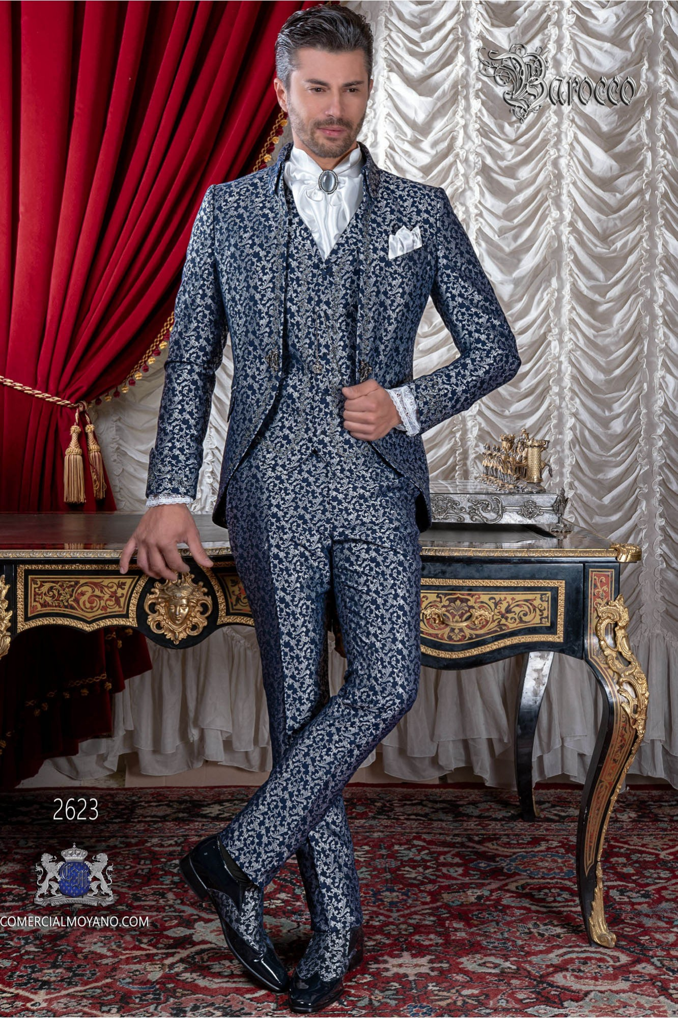 Baroque groom suit, vintage Napoleon collar frock coat in blue and silver jacquard fabric with silver embroidery