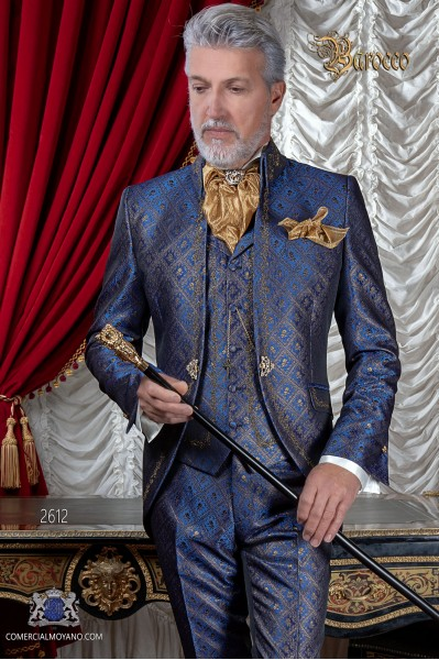 Costume de marié baroque, redingote col Napoléon vintage en tissu jacquard bleu-or avec broderie en d'or