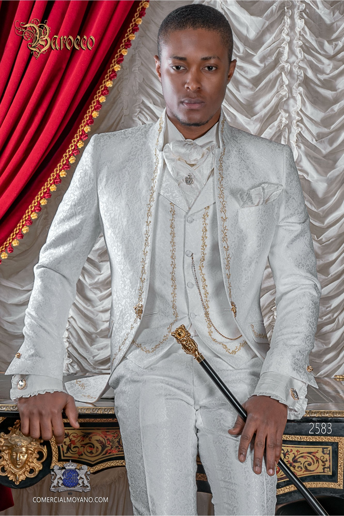 Baroque groom suit, vintage mao collar frock coat in white jacquard fabric with golden embroidery