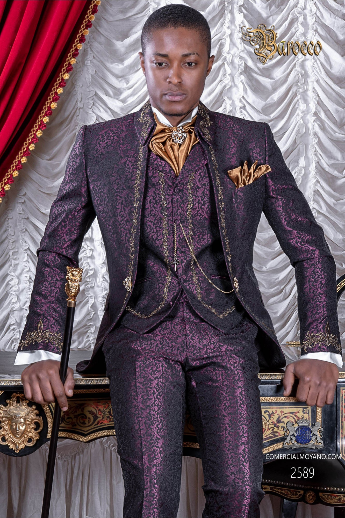 Baroque groom suit, vintage Napoleon collar frock coat in purple jacquard fabric with golden embroidery and crystal clasp
