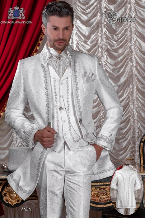 Baroque groom suit, vintage Napoleon collar frock coat in white jacquard fabric with silver embroidery and crystal clasp