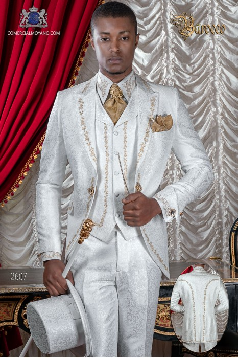 Baroque groom suit, vintage frock coat in white jacquard fabric with golden embroidery and crystal clasp