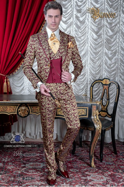 Vintage frock coat red and gold jacquard fabric, lapels with satin profile.
