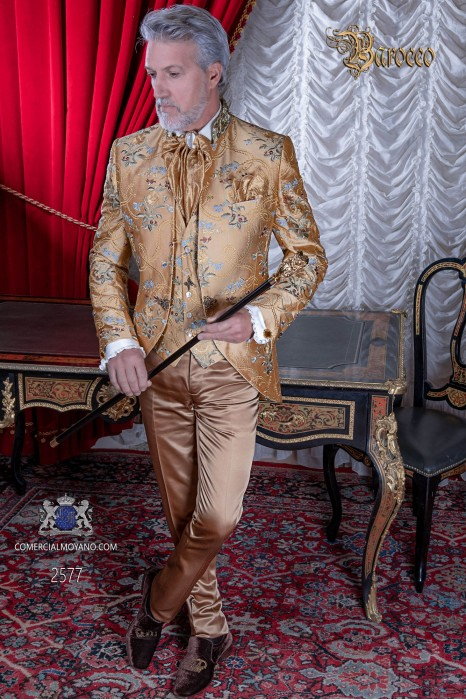 Gold brocade baroque frock coat with fantasy mao collar