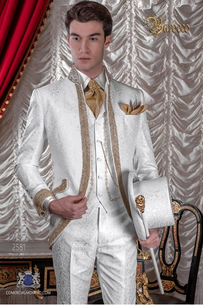 Baroque wedding suit, vintage frock coat in white floral brocade fabric, Mao collar with gold rhinestones
