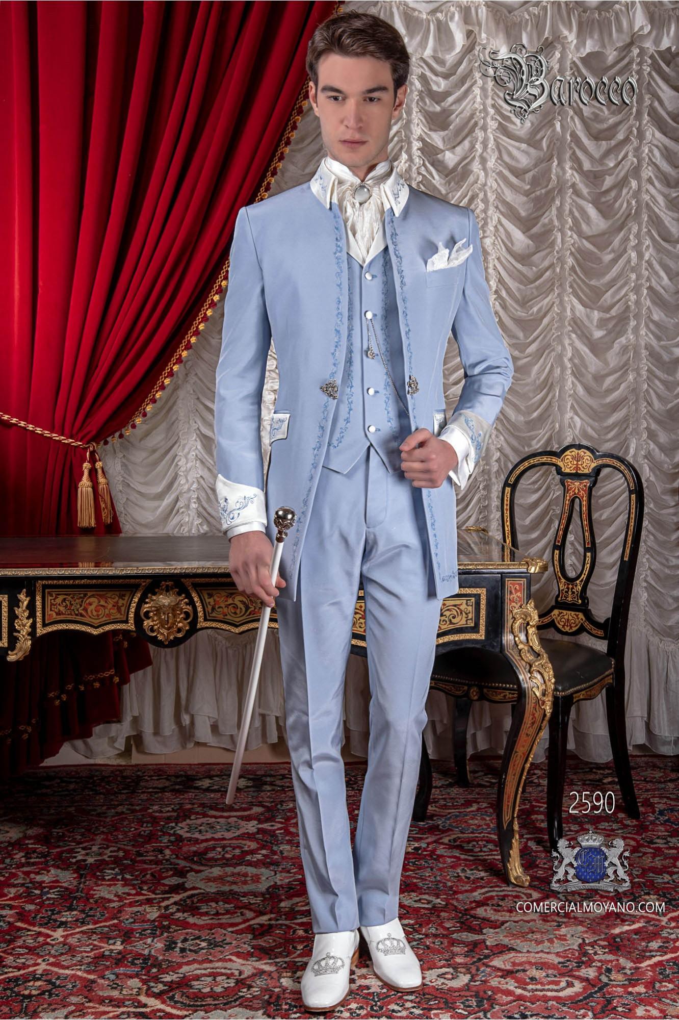 Traje de época casaca azul claro