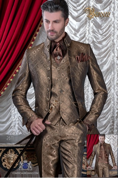 Mens Steampunk Vintage frock coat with Napoleon collar in gold jacquard fabric with golden buttons