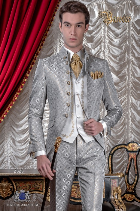 Mens Steampunk Vintage frock coat with Napoleon collar in gray silver-gold jacquard fabric with golden buttons
