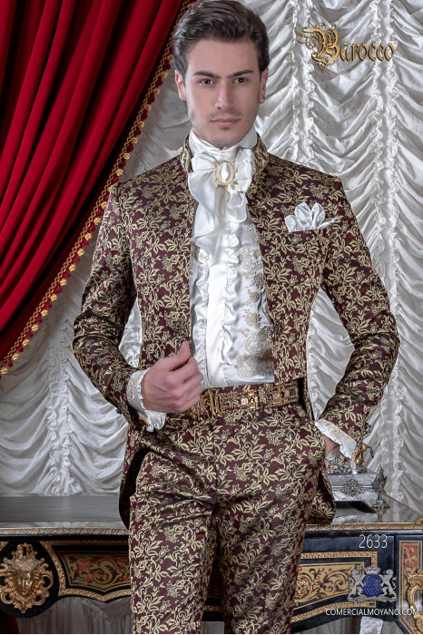 Baroque red and gold jacquard tail coat with fantasy Mao collar