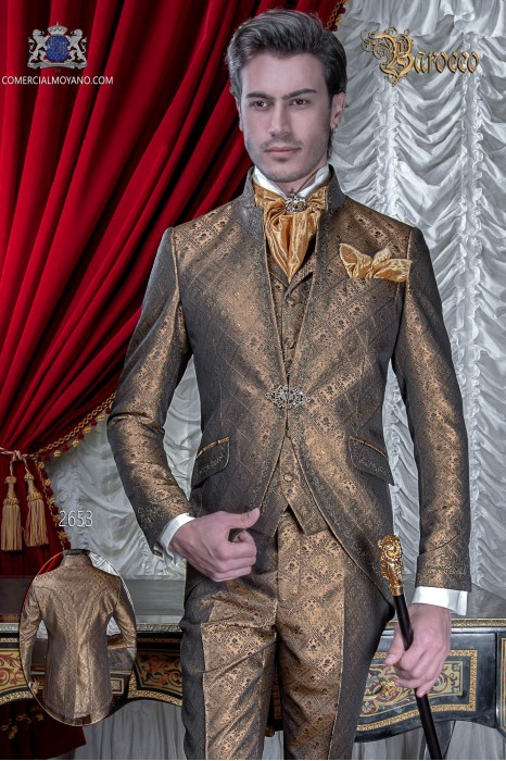 Baroque groom suit, vintage mao collar frock coat in gold jacquard fabric with golden embroidery and crystal clasp