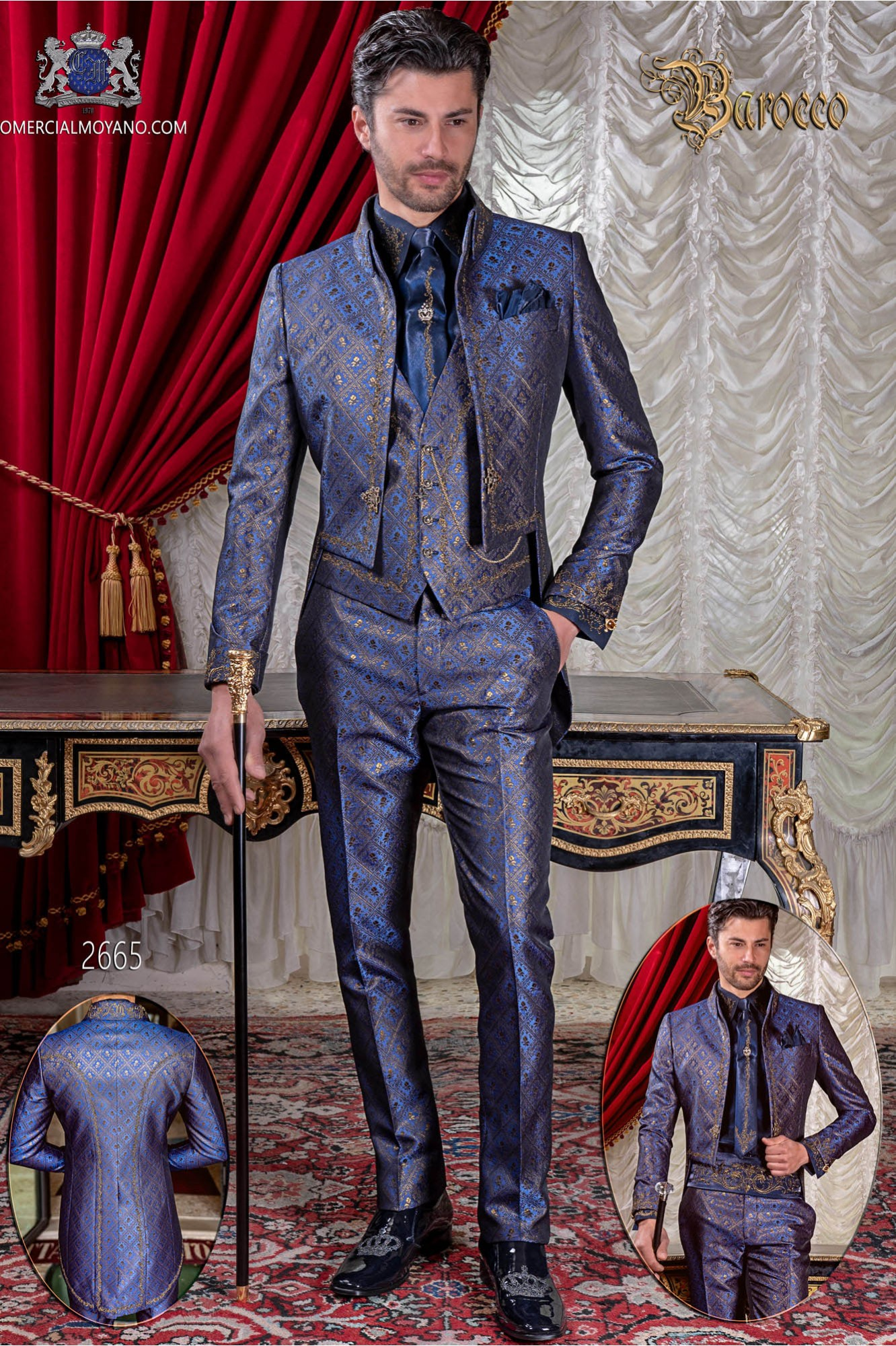 Traje de novio barroco, frac cuello Napoleón en tejido brocado azul-oro con bordados dorados