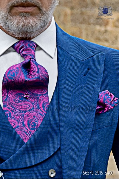 Fuchsia cashmere design ascot tie with maching pocket handkerchief