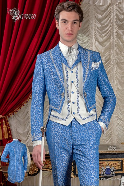 Baroque blue and silver jacquard fabric tail coat with silver embroidery