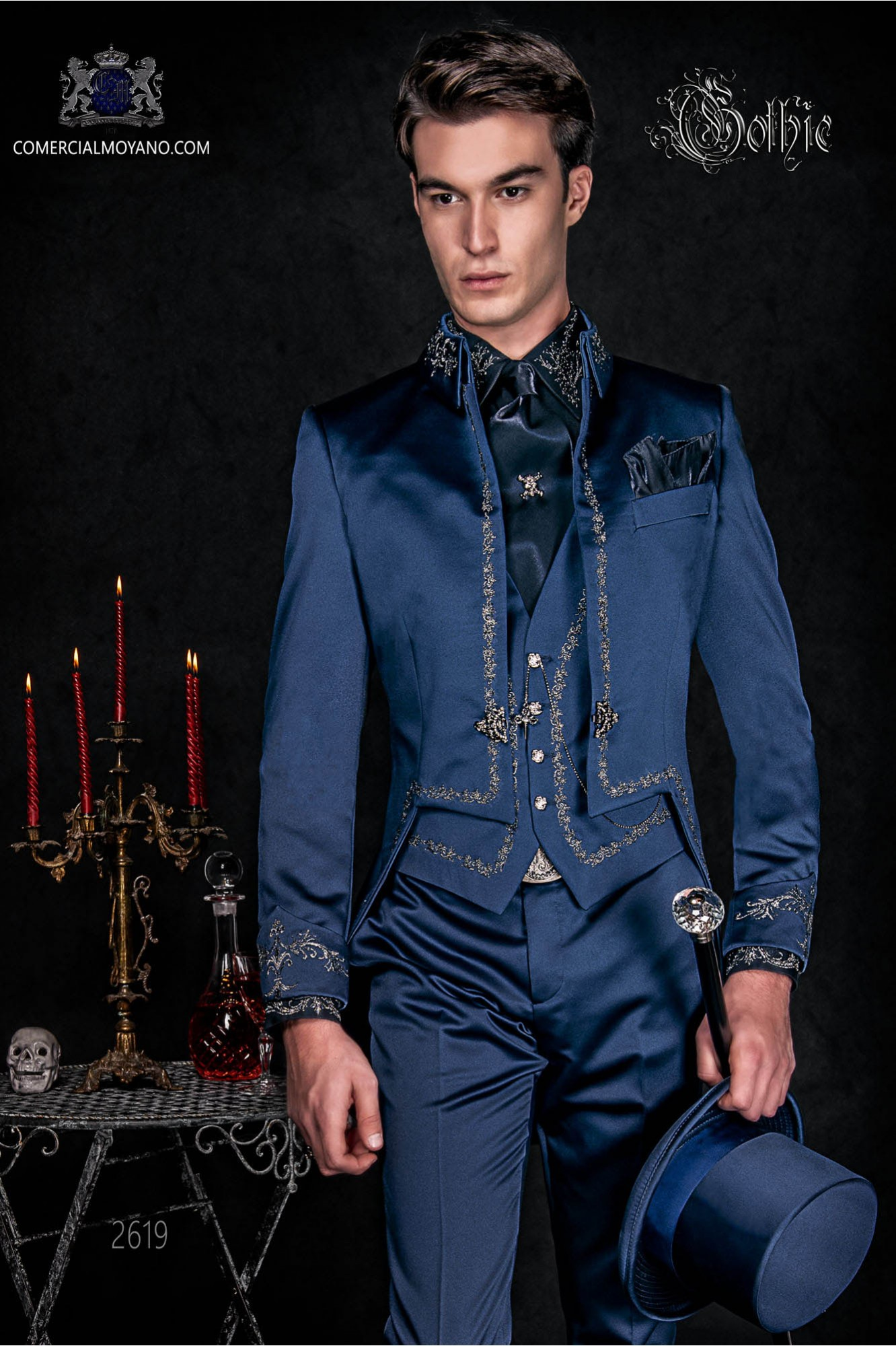 Gothic blue satin Mao tail coat with silver embroidery.