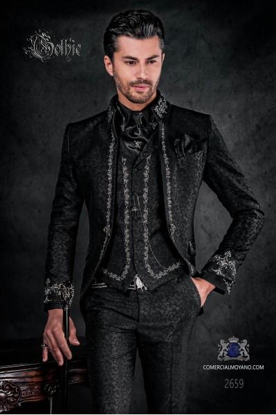 Traje de novio barroco, levita de época cuello Napoleón en tejido jacquard negro con bordados plateados