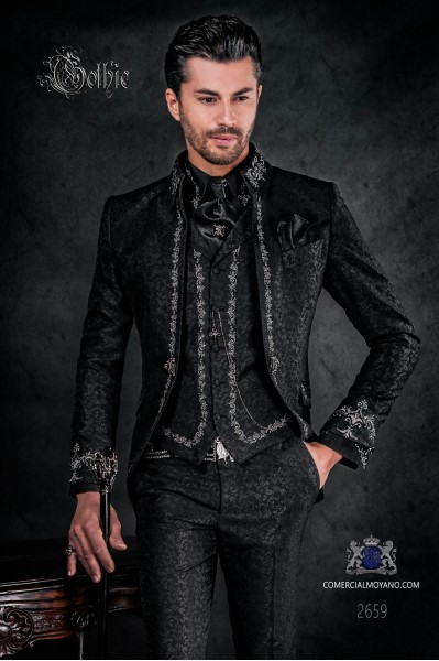 Baroque groom suit, vintage Napoleon collar frock coat in black jacquard fabric with silver embroidery