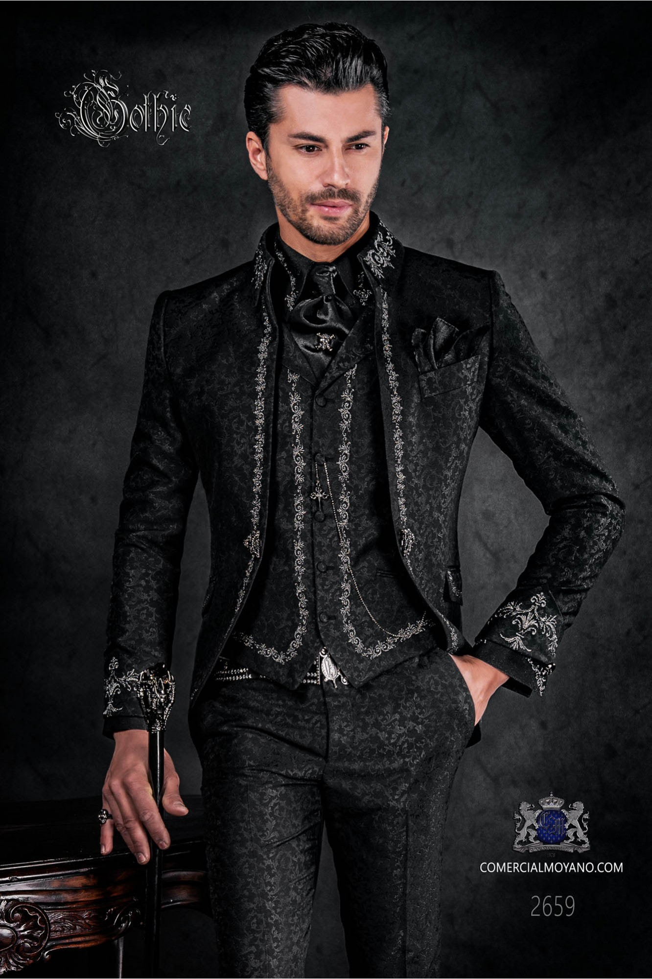 Victorian gothic style frock coat black brocade with silver embroidery