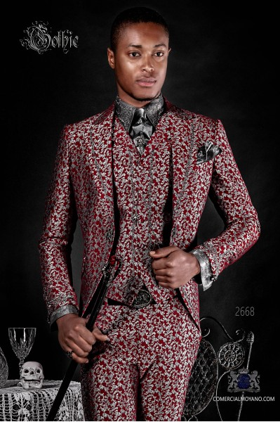 Baroque groom suit, vintage frock coat in silver and red jacquard fabric with silver embroidery