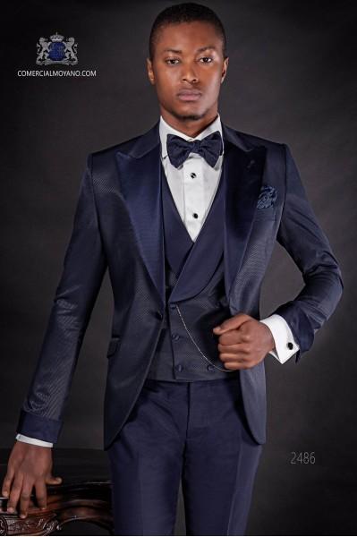 Dunkel blau Hochzeitsanzug Mikrodesign-Stoff