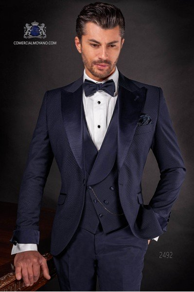 Italian bespoke suit dark blue in microdesign fabric