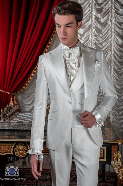 Italian wedding suit Slim stylish cut. White jacquard fabric suit with satin peak lapel