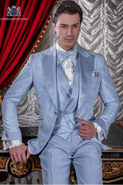 Italian wedding suit Slim stylish cut. Light blue jacquard fabric suit with satin peak lapel