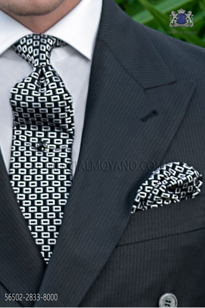 Silk black tie and handkerchief with micro designs