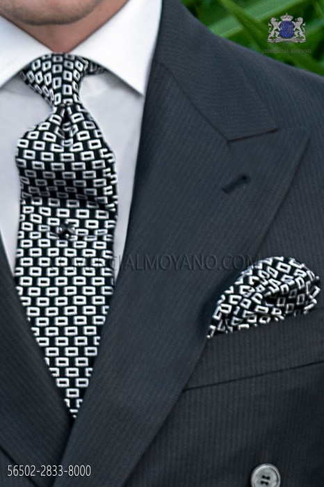 Silk black tie and handkerchief with micro designs