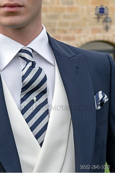 Blue and silver striped tie and handkerchief