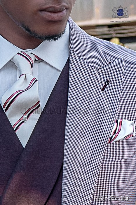 Silk white tie and handkerchief with with pink and black stripes