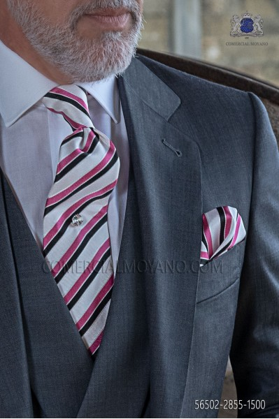 Silk white tie and handkerchief with pink and black stripes