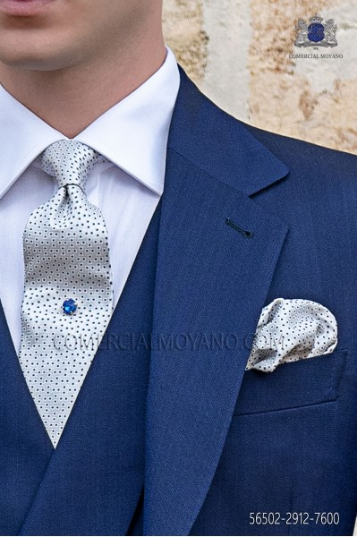 Silver and blue microdesign tie and handkerchief