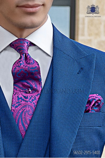 Blue and fuchsia tie with handkerchief