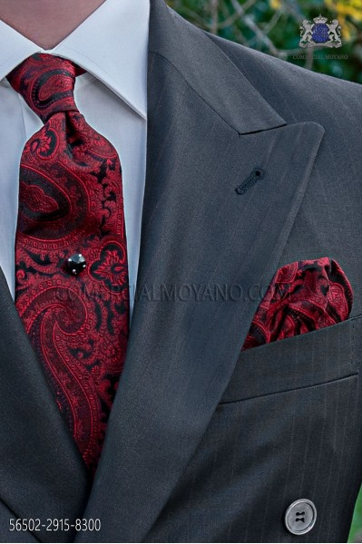 Black and red tie with handkerchief