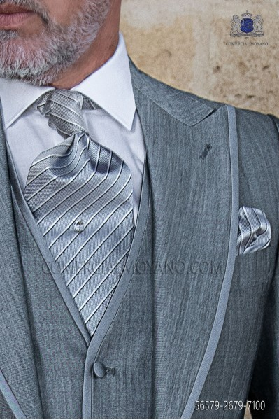 Groom Tie with pocket handkerchief gray striped design