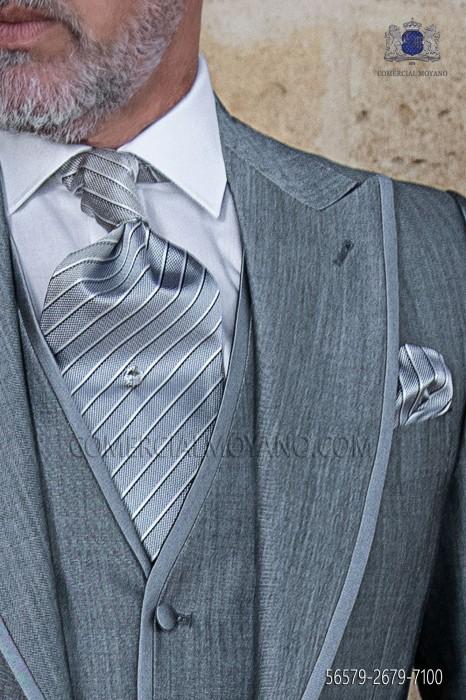 Groom Tie with pocket handkerchief gray striped design