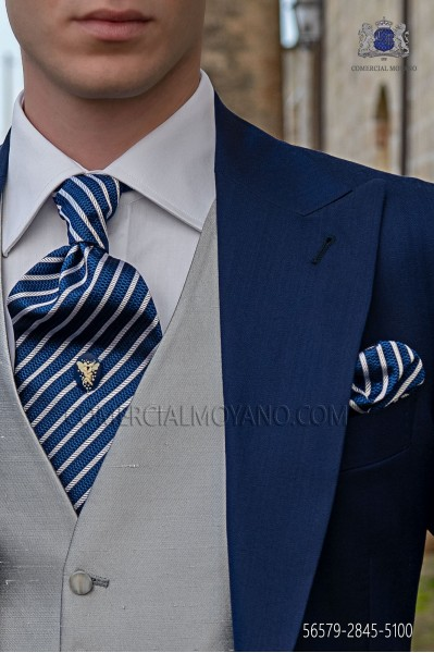 Blue and silver striped ascot tie and handkerchief