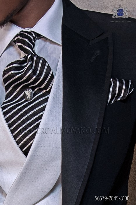 Black and silver silk ascot tie and handkerchief