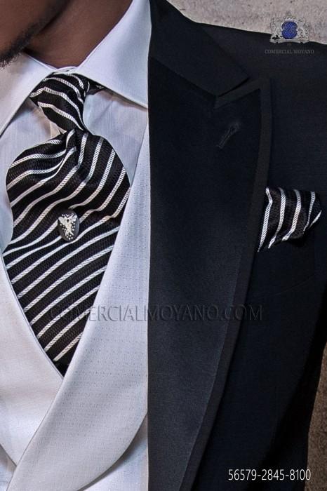Black and silver silk ascot tie and handkerchief