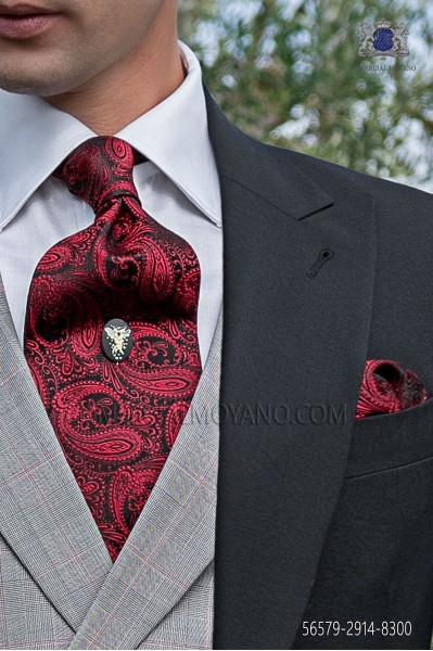 Black and red paisley pattern tie and handkerchief